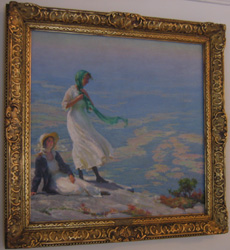 "Charles C. Curran oil on canvas ""Two Women In a Landscape""."