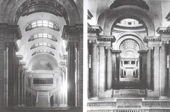 Photo montage (2 images) showing construction work on the Capitol interior.