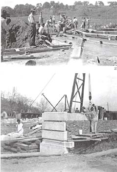 Photo montage (2 images) showing early Capitol construction