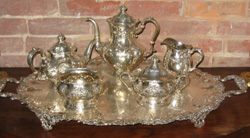 Silver engraved tray and tea service